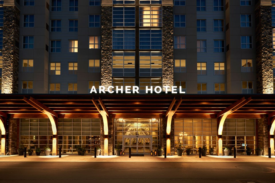 Archer Hotel Redmond — Exterior at night
