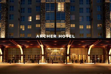 Archer Hotel Redmond — Exterior at night