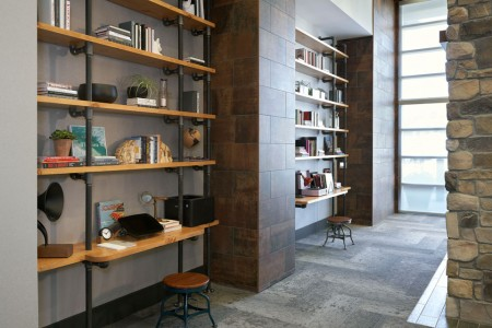 Archer's library with bookshelves