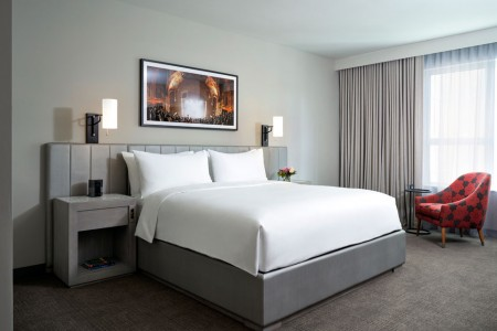 Classic King - platform bed featuring white bedding and channel-tufted headboard
