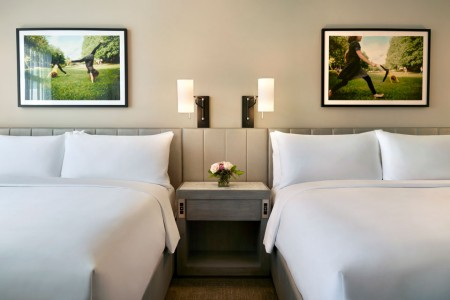 Double King - two king beds, reclaimed wood nightstands and bedside lighting