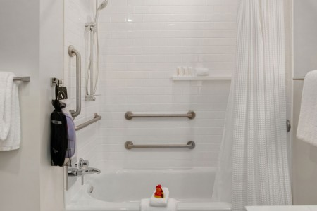 Classic King - mobility-accessible tub with grab bars and hand-held shower wand