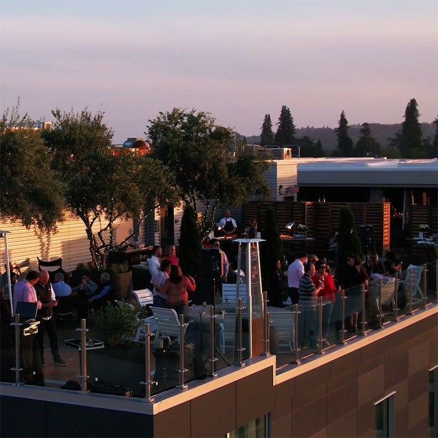 Aerial view of people at Sky & Vine Rooftop Bar