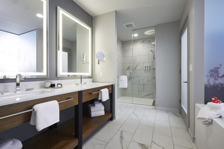 Archer's Den - spacious bathroom featuring a double vanity, walk-in shower and soaking tub